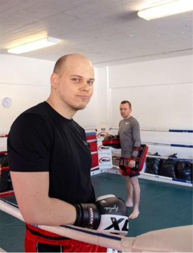 Juha-Matti Runtti ja Jussi Salla OKB:n salilla. Kuva Sami Korkala